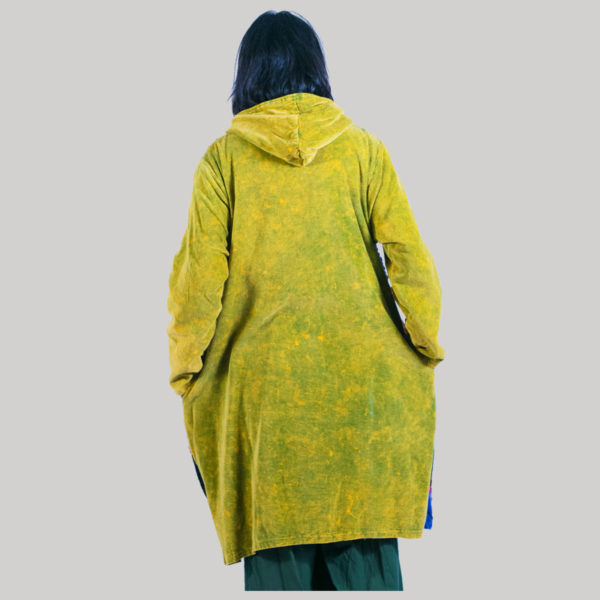 Asymmetrical razor cut polar lining women's long jacket (Yellow)