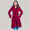 Women's long velvet jacket (Maroon)