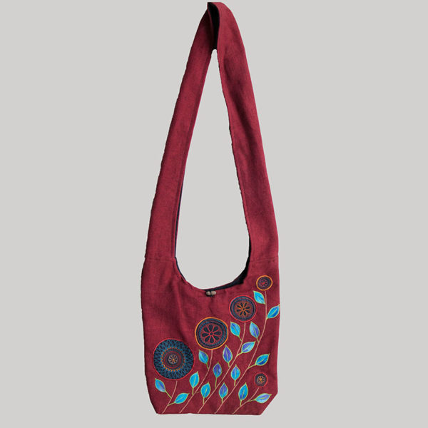 Women's Garments flower embroidery shopping side bag