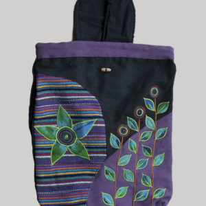 Garments Flower embroidery Striped Flap Bag pack