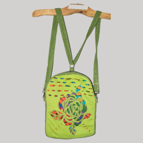 Small bag-pack with flower cut work
