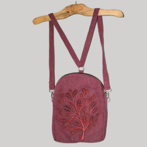 Small bag-pack with tree patch leaf embroidery