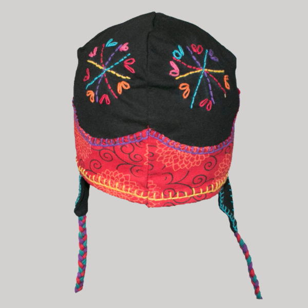 Ear-flap cap with multiple colored jersey hand work