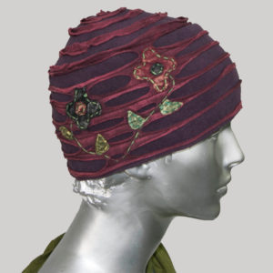 Flower hand work cap for women with razor cut