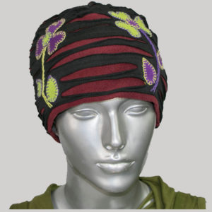 Symmetrical razor cut flower hand work cap for women