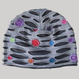 Cap with polka dots hand work and stone wash