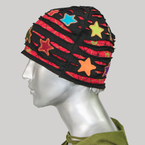 Star printed jersey cap with hand work