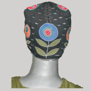 Flower embroidery cap with jersey cotton & polar fleece