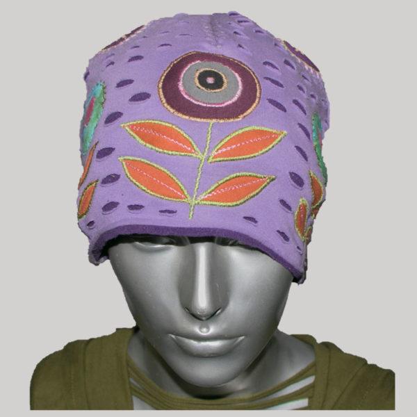 Flower embroidery cap with jersey cotton & polar fleece