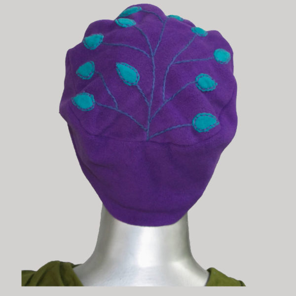 Branched leaves hand worked cap