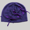 Velour jersey cotton cap with embroidery and strings