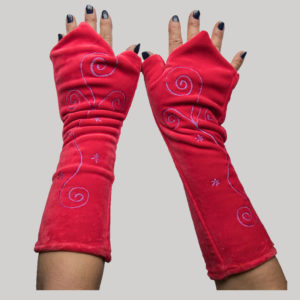 Polar lining velour women's long glove with embroidery
