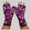 Gloves with big flower motif embroidery