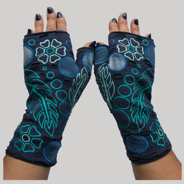 Women's gloves flower & leaf embroidery