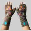 gloves with flower hand stitching razor & stone wash