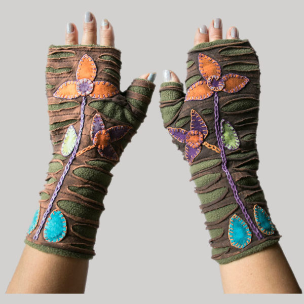 gloves with flower hand stitching razor & stone wash