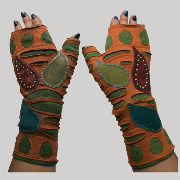 Gloves with beads hand work