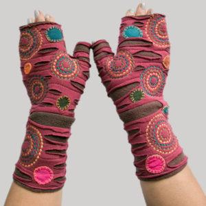 Hand stitched polka dots women's glove