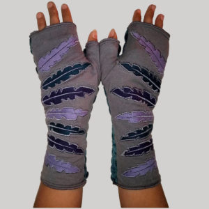 Feather embroidery women's glove