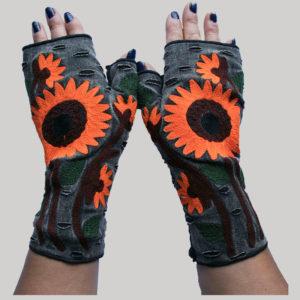 Women's gloves with big flower RE