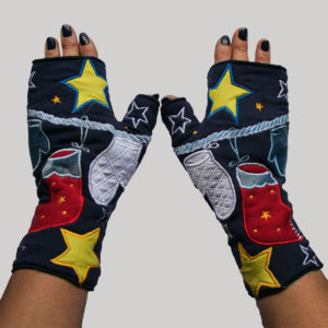 Women's gloves with boxing glove & star embroidery