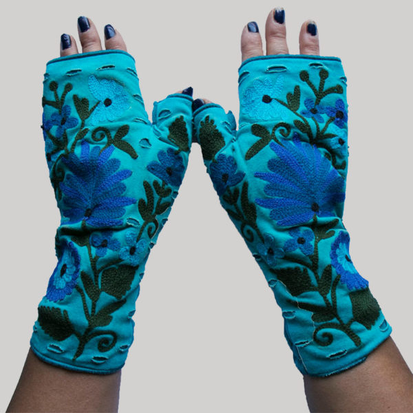 Women's gloves with flower RE