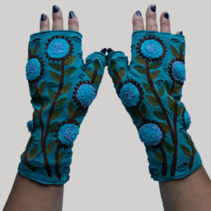 Gloves with flower branch RE