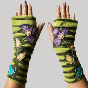 Gloves with razor cut & flower hand work