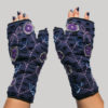 Women's gloves with round flower buds velvet embroidery