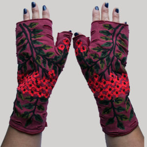 Women's gloves with small flower RE