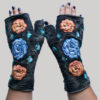 Women's gloves with velvet buds & flower embroidery
