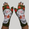 Gloves with skull head embroidery