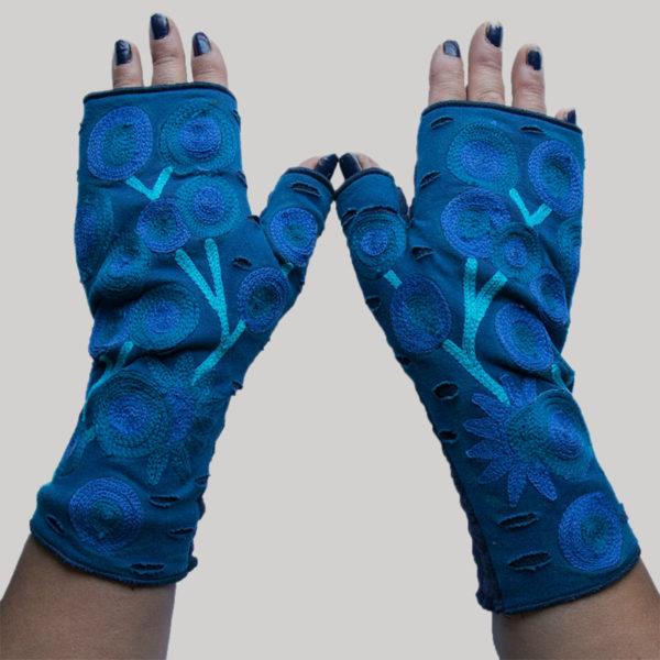 Women's gloves polar fleece with tree motif RE