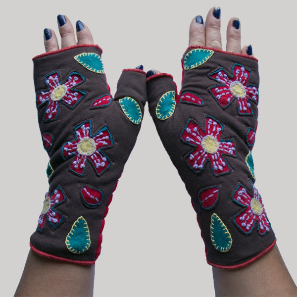 Women's gloves velour with polar fleece lining cut out
