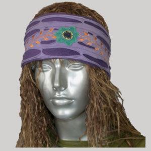 Jersey headband with flower embroidery & razor cuts