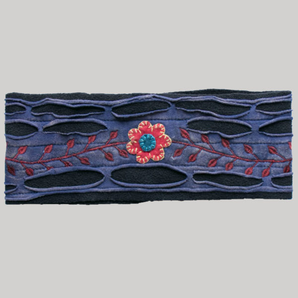 Jersey headband with flower embroidery & razor cuts