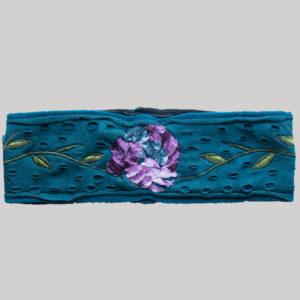 Velvet women's headband with flower embroidery