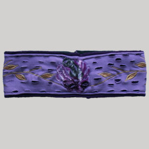 Velvet women's headband with flower embroidery