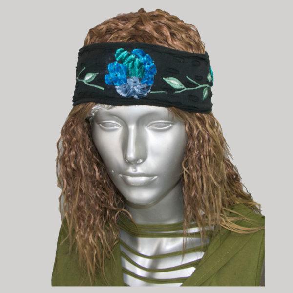 Asymmetrical razor cut & embroidery women's headband