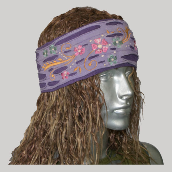 Women's headband with vine embroidery