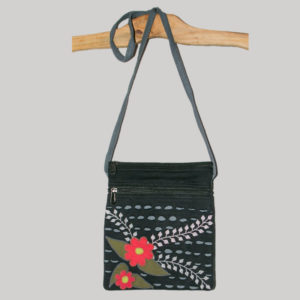 Women's passport bag with razor cut and hand work