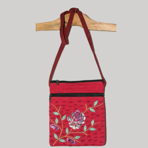 Women's passport bag with velvet flower embroidery