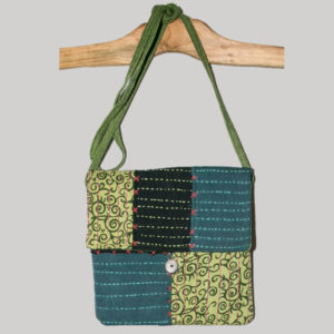 Women's passport bag with kantha hand stitching