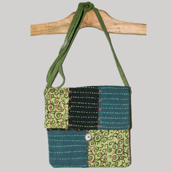 Women's passport bag with kantha hand stitching