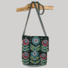 Pp bag with flap heavy cotton jersey razor with flower embroidery
