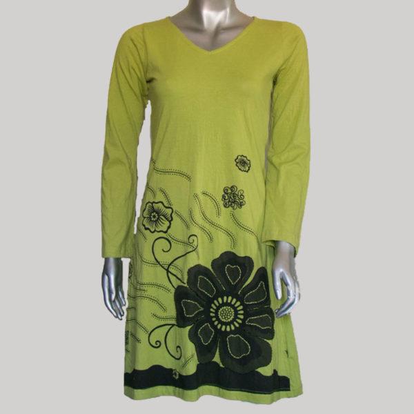 Women's Garments flower printed jersey Dress