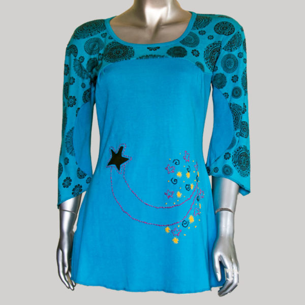 Women's Garments star printed patches Rib Dress