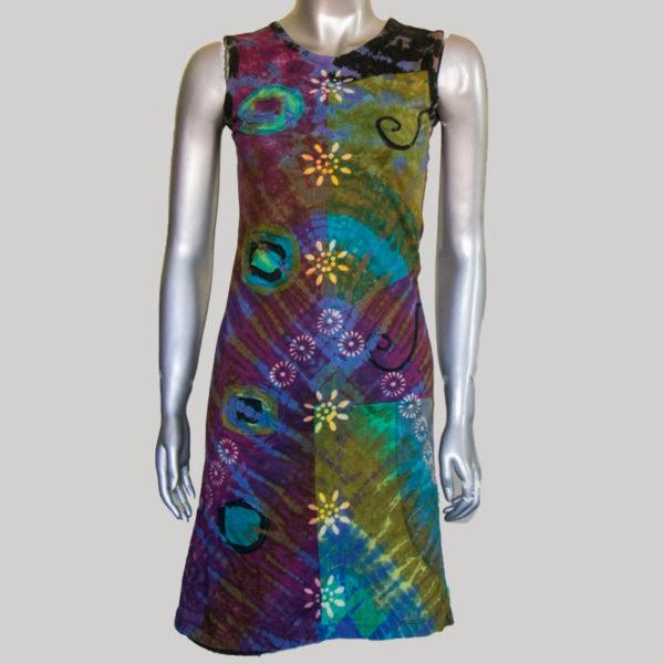 Women's sleeveless ti-die patches Dress