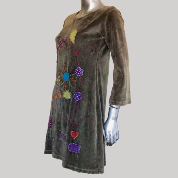 Women's garments hand work Velour Dress