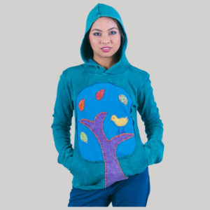 Women's garments leaf & birds motif Hoodie